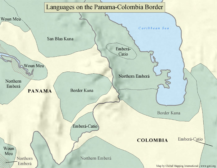 A sample map of the languages on the Panama-Columbia border