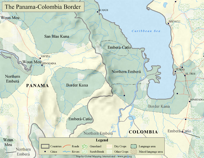 A sample map of the Panama-Columbia border