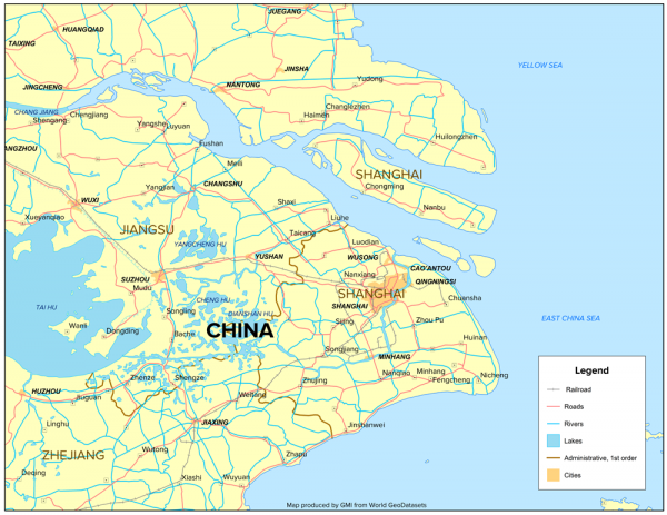Select cities, transportation, and water features near Shanghai, China